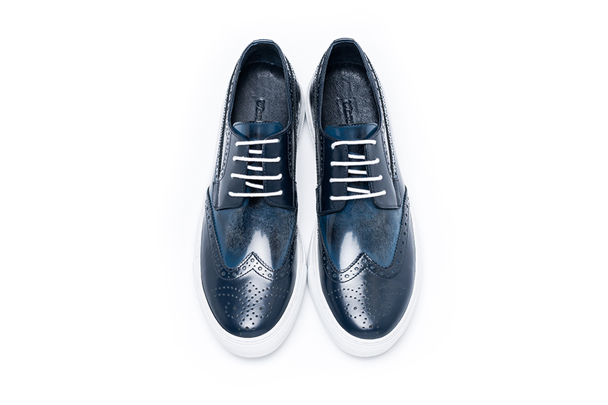 Marginal Leather Lace Shoe - Black