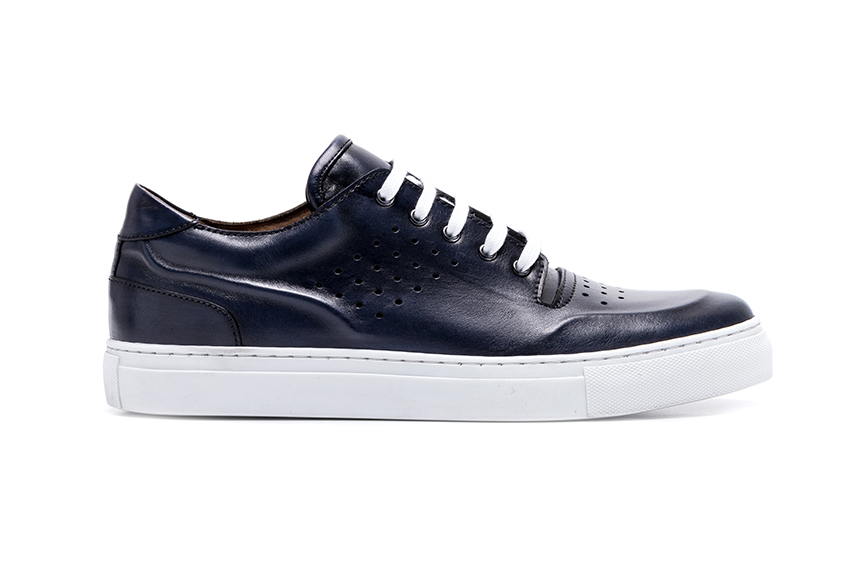 Rete Lace Leather Shoes - Navy