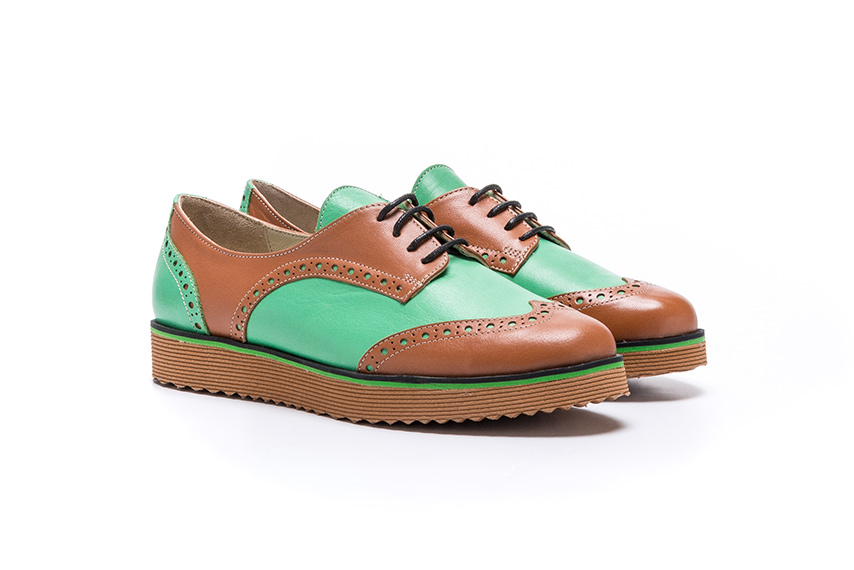 Pattern Leather Shoes - Green Taba Pattern