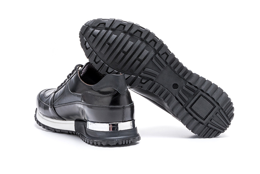 Charm Lace Leather Sneakers - Black
