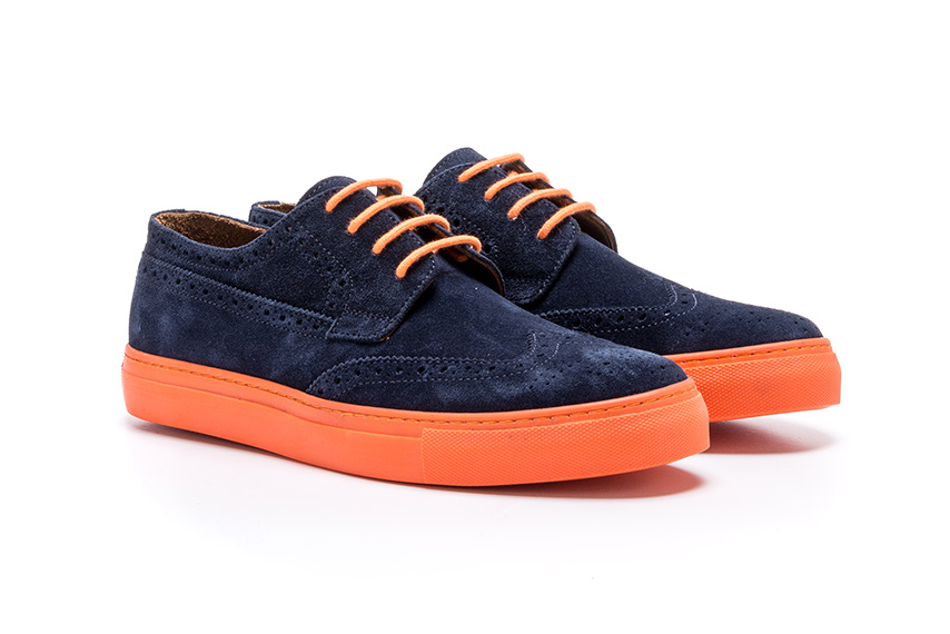 Marginal Lace Leather Shoes - Navy
